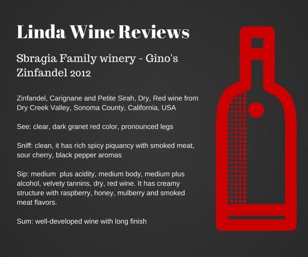 Sbragia Family winery - Gino's Zinfandel 2012